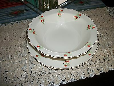 Very Htf!! Ws George Vintage Red Poppies Poppy Dinner Plate Serving Bowl L@@k!!