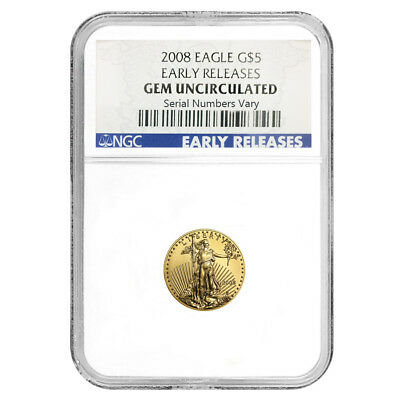 2008 1/10 oz $5 Gold American Eagle NGC Gem Uncirculated Early Releases