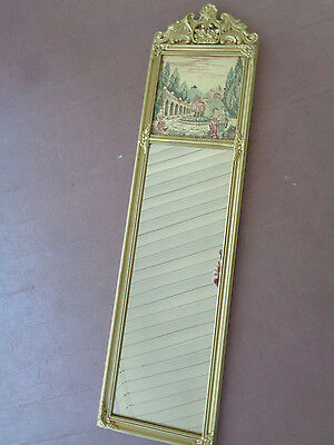 Antique Victorian Mirror Ornate Gold Wood Gesso Frame w/ Old World Tapestry