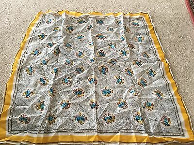 Vintage Women's Scarf Made in Japan White Black Yellow Turquoise Pink Flowers