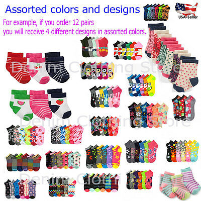 Newborn Baby Toddler Girl Mix Assorted Design Color Ankle Socks Lot 0-12 2-3 4-6