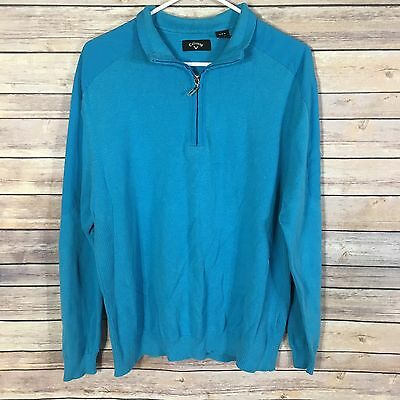 Pre-Owned Callaway Mens Large Pullover Sweater Light Weight Blue Zip Neckline