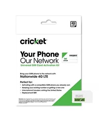 Cricket Wireless Prepaid GSM SIM Card (No Contract) | Bring Your Own Device New