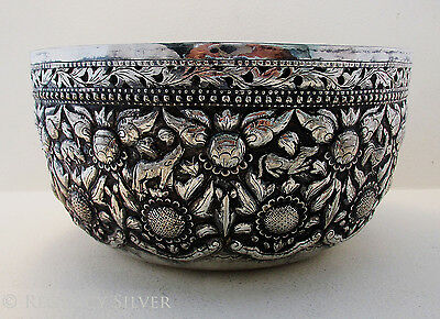 Rare Indo-Persian SOLID STERLING SILVER Antique Dish Bowl Burmese/Chinese/Indian