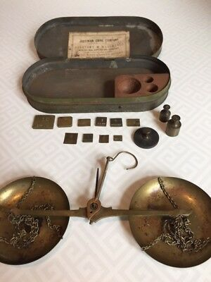 "Antique Gold Rush Era assayers' scale in tin box ""Alaska"""