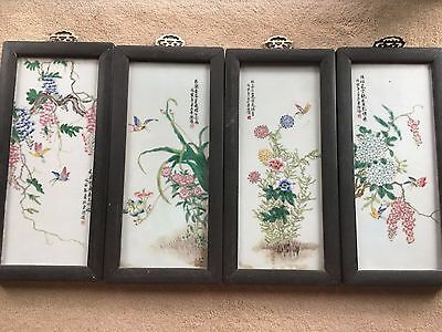 Beautiful Chinese Art Porcelain Tile Painting W Wood Framed Set of 4 PC