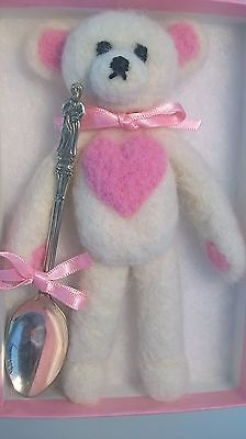 Silver christening spoon with teddy bear. Boxed gift for girl or boy. £15