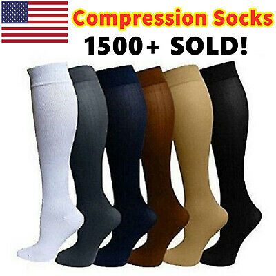 Compression Socks Support Stockings Graduated Men's Women's 6 Pairs (S-XL)