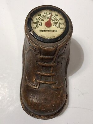 Vintage Syroco Pressed Wood Shoe Thermometer