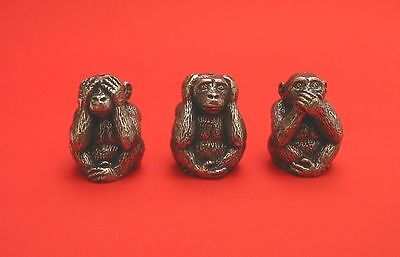 See No, Hear No, Speak No Evil Monkeys Thimble Pewter Collectible Thimbles NEW