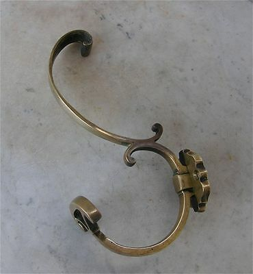 "FRENCH BRASS HOOK for Coat & Hat S Shaped Design Curl & Wedge 8 1/2"" Long1920's"