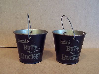 2 vintage & funny Mini Butt Buckets - pails with handles serving as ashtrays