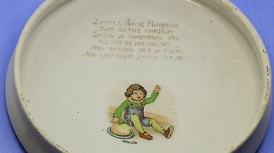 Vintage Jack Horner Round Ceramic Child's Dish Baby with Spoon & Fork