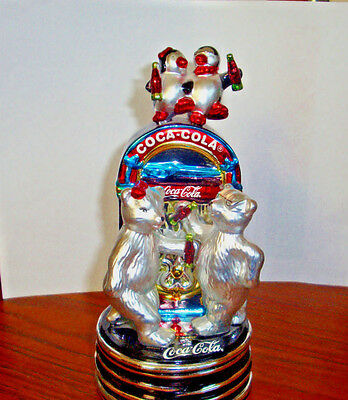 Coca-Cola Blown Glass Musical Juke Box With Polar Bears And Penguins