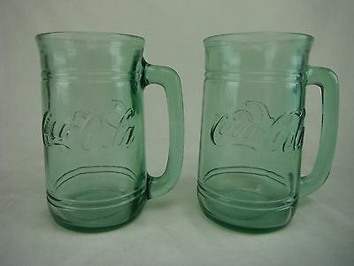 "VINTAGE COLLECTIBLES--COCA COLA GREEN GLASS MUG--5 1/2"". Lot of 2 mugs"