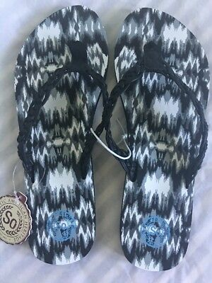 5bd0d731aa000f New SO Women Braided Flip Flops Printed Sandals Size L 9-10 Summer Simple
