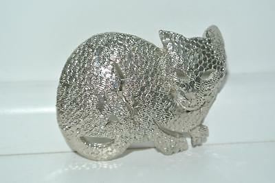 Vintage Lion/Cat Pin Brooch With Cut Outs By Ultra Craft Silver Tone