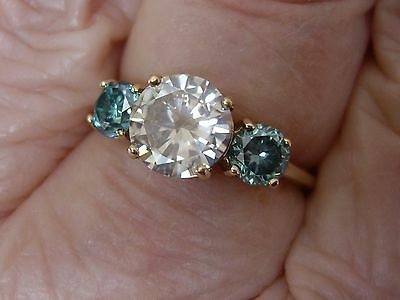 """9CT Solid Yellow Gold Champagne & Blue Moissanite """"Diamond"""" 2.5CT Trilogy Ring"""