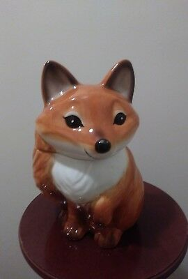 A Unique Ceramic Coyote Cookie Jar / Snack Jar With Lid