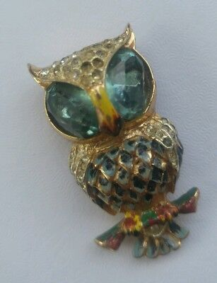 Rare Signed COROCRAFT Owl Figural Sterling Silver Enamel Ice Pave Fur Clip Pin