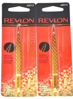 Revlon Point Tweezer  Gold Series Titanium Coated 42013 Pick From 1 or 2 Packs