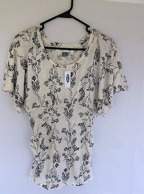 OLD NAVY Maternity Top XS Cream/Black floral NWT Free Shipping