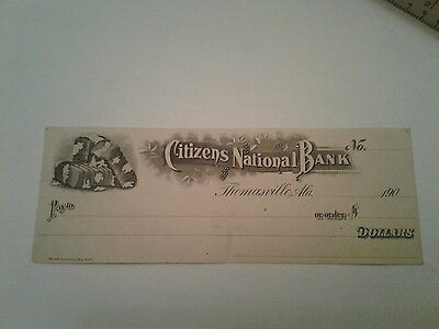 Original  Unused 1900'S  Citizens Nation Bank Thomasville, Alabama Bank Check!