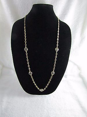 """Cookie Lee Coin Accent Silver and Gold Tone Metal Long Necklace 37 """""""