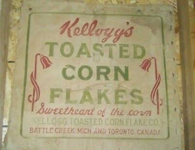 !! Very Rare !! Kellogg's Corn Flakes !! 1914 Factory Shipping Box Side Panel !!