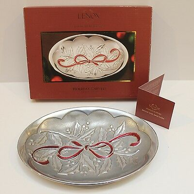 Lenox Christmas Serving Tray - Metal with Holy & Red Bow - Original Box - GVC