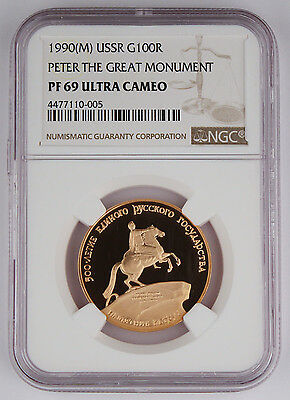 Russia 1990 1/2 Oz Gold Proof 100 Rouble Coin NGC PF69 Peter The Great Monument