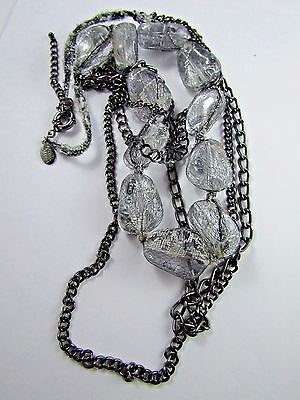"""Spring Street Clear Mesh Wrapped Multi Strand Silver Tone Necklace 19 """""""