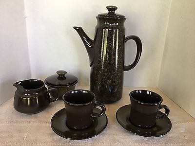 Franciscan Madeira VTG Cream & Sugar, Coffee Pot, (2) Cups Saucers  Free Ship
