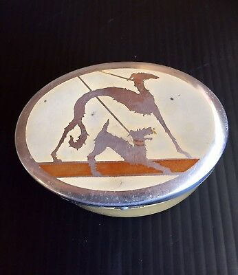 Antique Art Deco Footed Metal Box w/2 Dogs Whippet? & Airedale?