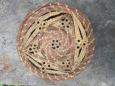 """Antique Covered Basket  Hand-Woven  3 1/2"""" By 6 1/2 Inches"""