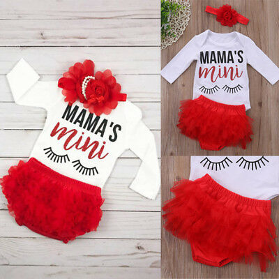 3PCS Newborn Baby Girls Long Sleeve Romper Tutu Lace Shorts Outfits Clothes USA