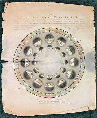 Planispherical Planetarium Rare 1797 Large Engraved Color Astronomical Chart