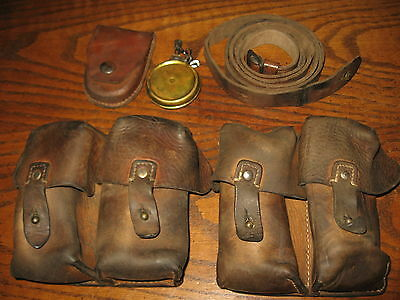Yugo SKS rifle Sling brown leather ammo pouches and brass oil bottle m59 7.62x39