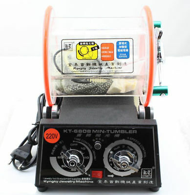 New 220V Tumbler Rotary Jewelry Polisher Finisher with Polishing Bead Cleaner