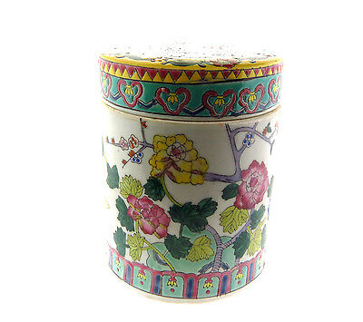 Chinese Famille Rose Porcelain Floral Pomegranate Tea Caddy Covered Jar 5.75 in