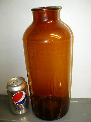 """Antique Huge 14"""" Amber Glass Apothecary Jar Bottle South Jersey Pit Blown"""