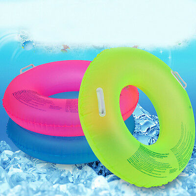 Pool Adult Kids Candy Color Swim Ring With Handle Inflatable Float Rubber Tube
