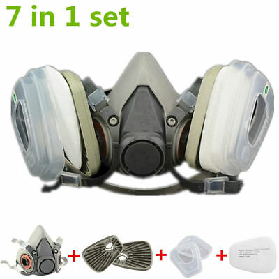 US 7in1 Half Face Suit Spraying Facepiece Respirator Fit 3M 6200 N95 Dust Mask