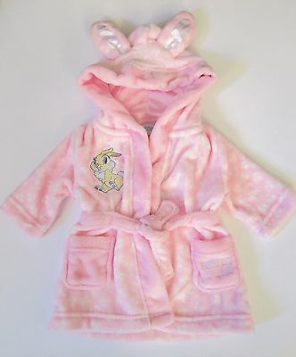 Disney Baby Miss Bunny Fleece Dressing Gown W/Ears Girls Size 00 New with Tags