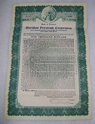 State Of Delaware Meridian Petroleum Corp Sinking Bond Indian Stock Certificate