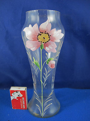VINTAGE CLEAR GLASS RIBBED VASE WITH ENAMEL FLOWER DECORATION ? Victorian