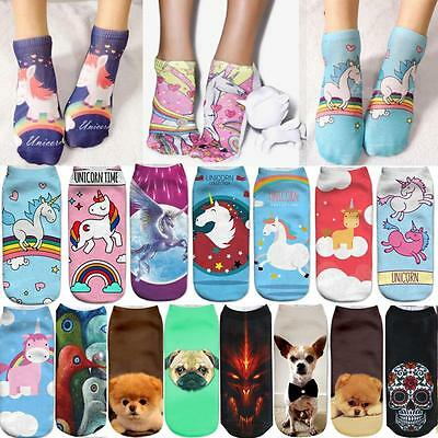 Men's Women's 3D Unicorn Print Casual Low Cut Ankle Socks Cotton Animals Pattern