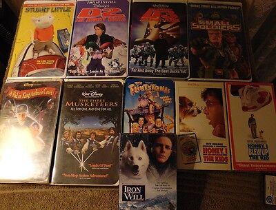 Lot of 10 ASSORTED Family Film VHS Tapes - Iron Will  The Flintstones +