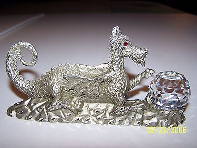 Masterworks Fine Pewter Dragon with Large Crystal