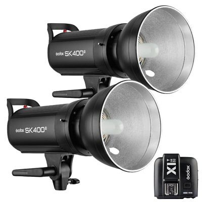 2X Godox SK400II 400W 2.4G Flash Strobe Light + X1T-N Transmitter for Nikon 220V